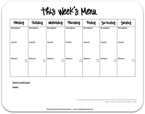 weekly planner printable black and white free printable weekly meal planner not quite susie