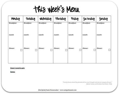 printable one week meal planner free printable weekly meal planner not quite susie