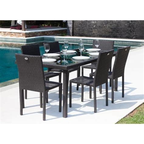 table de jardin cdiscount ibiza ensemble table de jardin 6 places en r 233 sine tress 233 e et aluminium anthracite achat