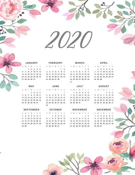 printable  yearly calendar   glance  backgrounds