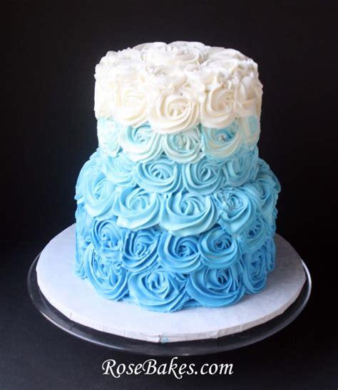 rose themed cake blue ombre buttercream roses cake for beach wedding