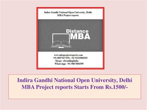 National Open College Mba by Ppt Indira Gandhi National Open Delhi Mba