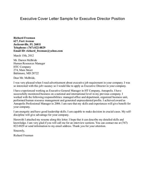 Cover Letter Position the best cover letter one executive writing resume