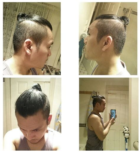 to short top knot men samurai hairstyle with undercut for short hair men