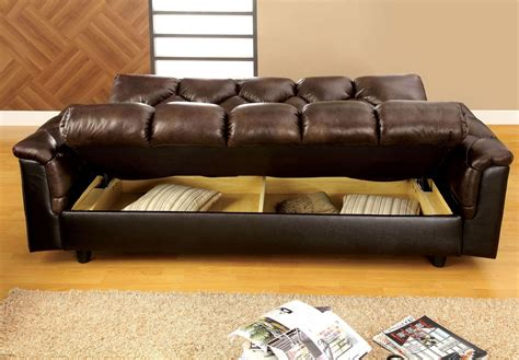 leather futon with storage bowie brown leather like futon storage sofa from furniture