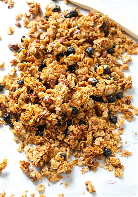 easy blueberry cinnamon almond granola layers of happiness