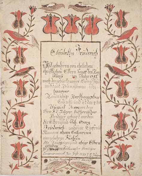 elisabetha collection birth and baptismal certificate geburts und taufschein