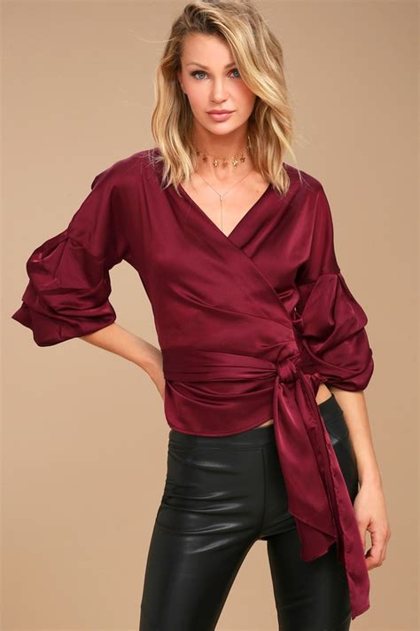 Satin Wrap Top Quartz chic burgundy top satin top wrap top statement sleeve