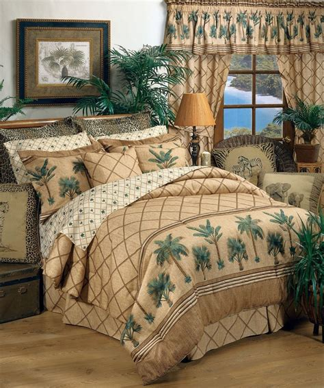 karin maki kona palm tree tropical bedding comforter set