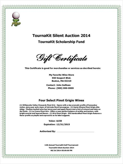 silent auction gift certificate template charity auction forms images 108 silent auction bid