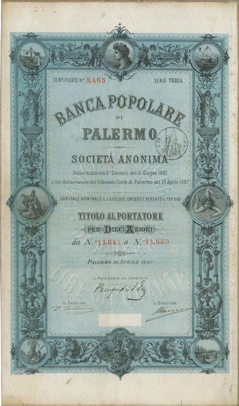 Banca Popolare A Palermo by Banca Popolare Di Palermo Titolo Finanziario Storico