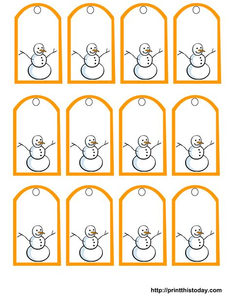 printable gift tags template this set of free printable snowman gift tags