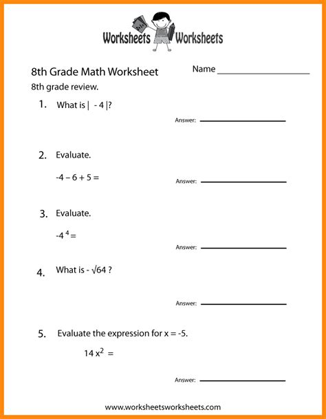 8th Grade Math Worksheets Common
