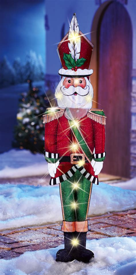 Outdoor Lighted Santa Claus 44 Quot Lighted Santa Claus Lawn Yard Stake Outdoor Wall Decor New Ebay