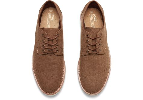 toms oxford shoes lyst toms brogue chambray oxfords in brown for