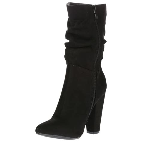 mid calf high heel boots georgina womens high block heel ruched slouch mid calf