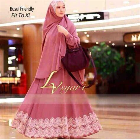 Baju Gamis Abaya Syar 39 I Bergo Pink Salemhr327 baju gamis pesta syari lv new y939 model terbaru 2015
