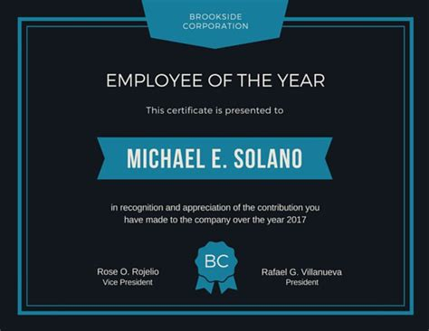 Best Resume Template Healthcare by Employee Of The Year Award Certificate Templates By Canva