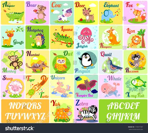 A To Z Search A Vector Illustration Of Alphabet Animals From A To Z 173977787