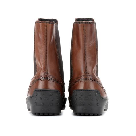 tod s leather chelsea boots in brown lyst