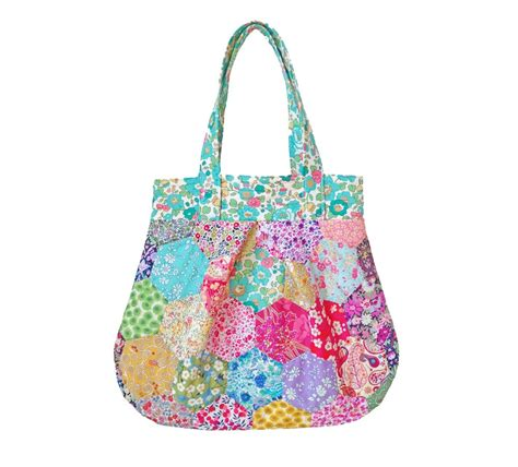 Free Patchwork Patterns For Bags - liberty hexagon patchwork bag pattern instant