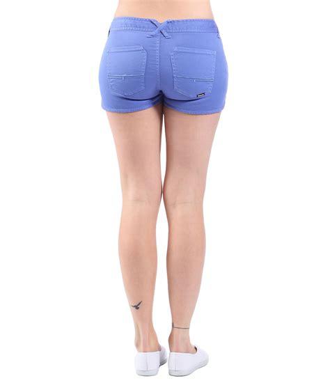 bench shorts womens bench womens good legs denim shorts in purple bright blue lyst
