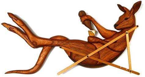 wood kangaroo pattern lazy kanga intarsia pattern