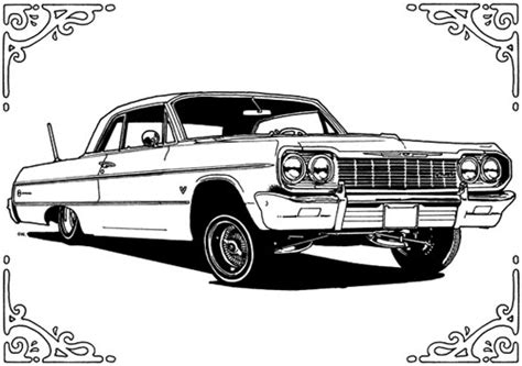 lowrider truck coloring page drawn car impala pencil and in color drawn car impala