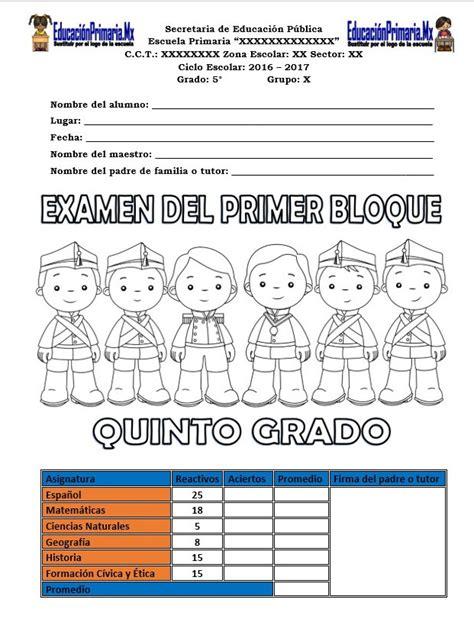 examen final preguntas abiertas quinto grado examen del quinto grado para el primer bloque del ciclo