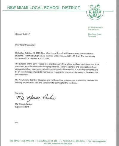 Release Letter From School new miami local school district