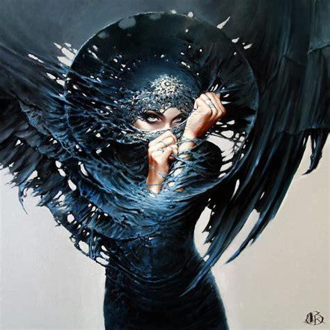 Satanic Home Decor by Woman Angel Of Death Painting Portrait Evil Mischief