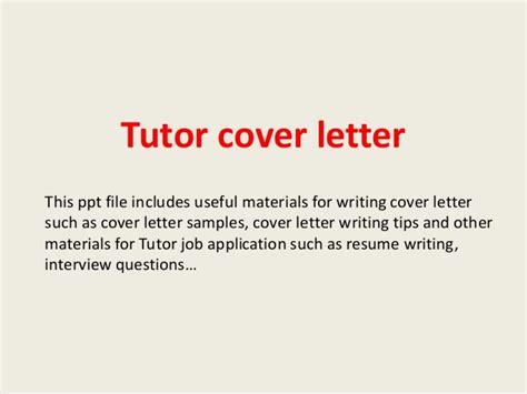 cover letter for tutor tutor cover letter