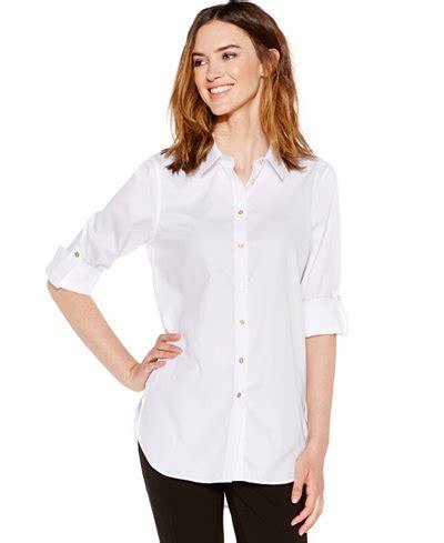 Macy S White Button Blouse by Calvin Klein Non Iron Button Tunic Tops