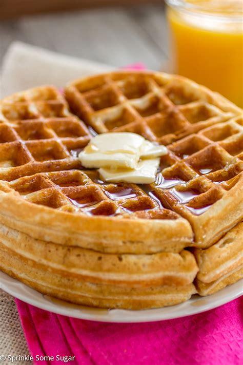 buttery golden buttermilk waffles sprinkle some sugar
