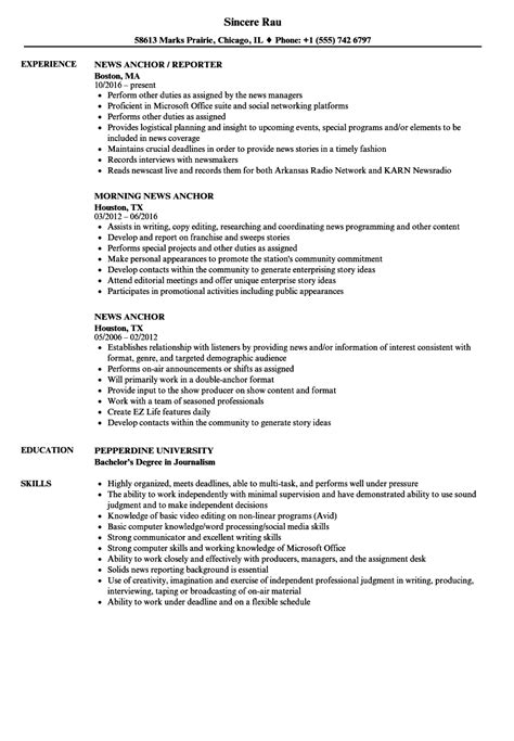 News Resume by News Anchor Resume Sles Velvet