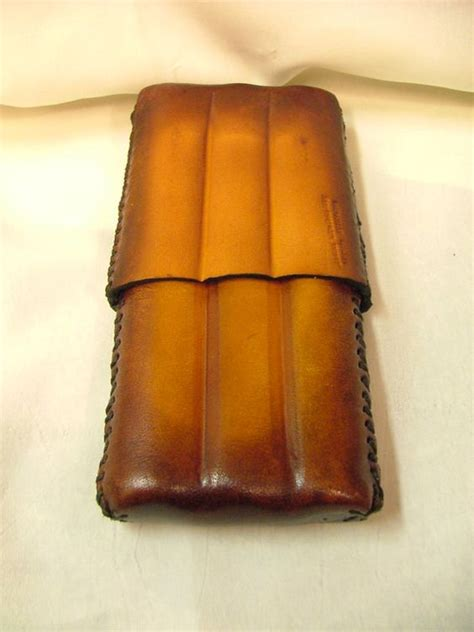 Handmade Cigars - handmade leather cigar holds 3 cigars