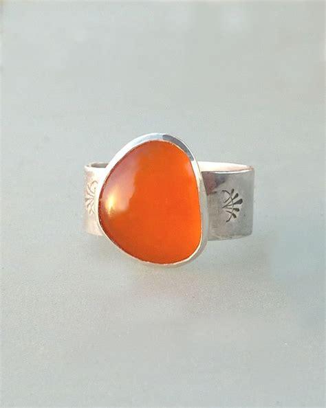 orange chalcedony ring orange ring cocktail ring