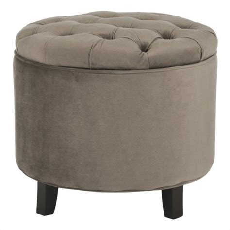 Safavieh Amelia Oak Tufted Storage Ottoman In Light Brown Safavieh Amelia Tufted Storage Ottoman