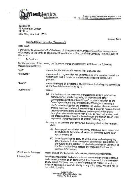Appointment Letter To Director Aevi Genomic Medicine Inc Form 8 K Ex 10 1 Non Executive Director Appointment Letter