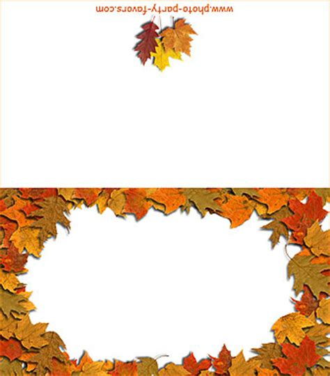 printable fall place cards template free printable folding autumn leaves place cards and