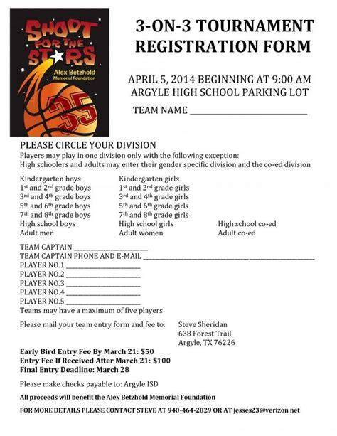 Shoot For The Stars 3 On 3 Basketball Tournament For Alex Betzhold Registration The Talon Basketball Tournament Registration Form Template
