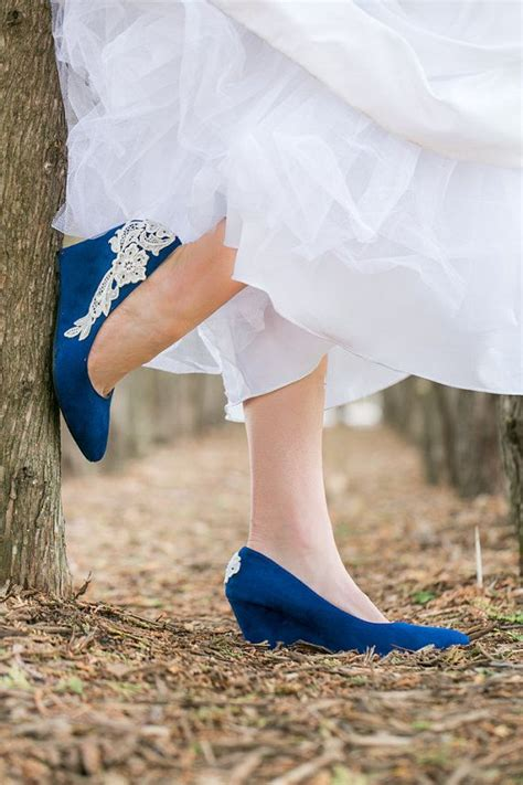 Blue Bridal Wedges by Wedding Heels Blue Wedges Bridal Shoes Blue Wedding