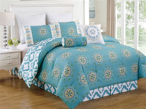 Teal Queen Comforter Set 8 Piece Queen Arocena Teal Comforter Set Ebay