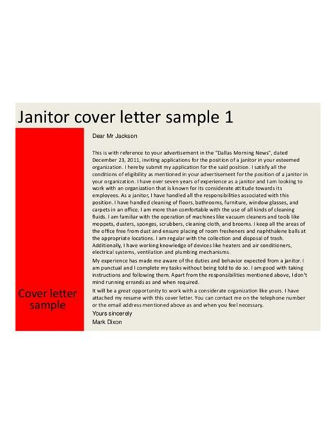 basic janitor cover letter sles and templates