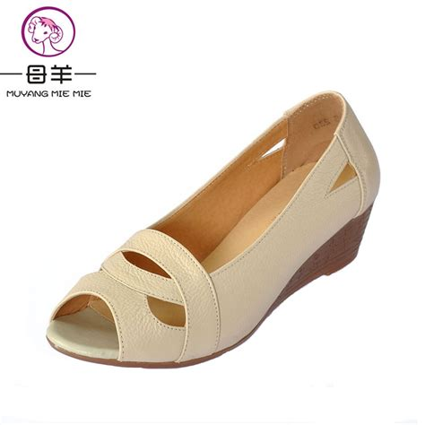 Sandal Wedges Ym08 Hitam 43 plus size 35 43 2017 summer shoes open toe genuine leather wedges sandals casual