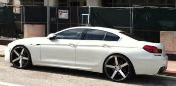 white bmw 640i with custom rims cars on the
