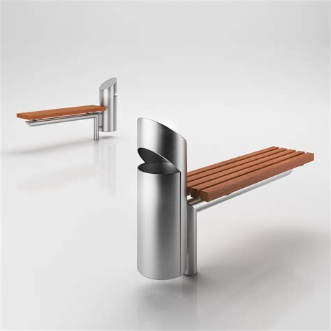 small metal bench small metal bench with integrated trash bin 3d model max
