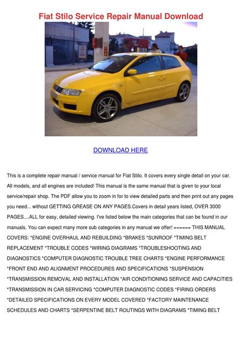 Fiat Stilo Service Repair Manual Download By Marisol