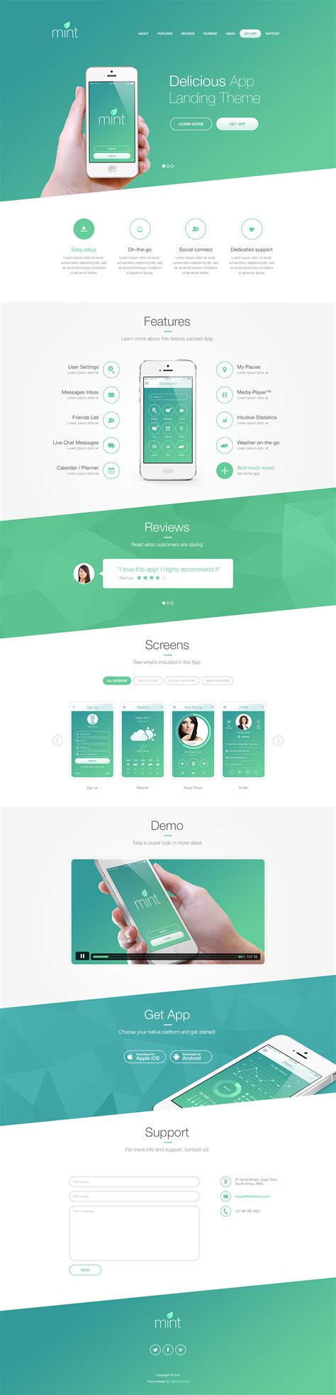 layout app web delicious app landing theme on behance
