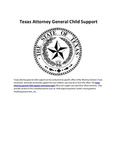 Child Support Office Tx attorney general child support